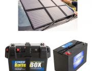 Adventure Kings 120W Portable Solar Blanket + Battery Box + AGM Deep Cycle Battery 115AH
