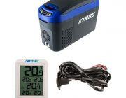 Adventure Kings 15L Centre Console Fridge/Freezer + 12V Fridge Wiring Kit + Wireless Fridge Thermometer