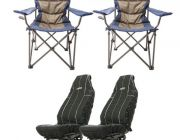 2x Adventure Kings Throne Camping Chair + Adventure Kings Heavy Duty Seat Covers (Pair)