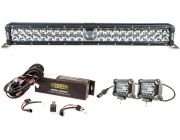 "Adventure Kings 24"" Laser Light Bar + Bar Wiring Harness + 4"" LED Light Bar"