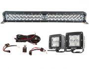"Adventure Kings 24"" Laser Light Bar + 3"" LED Work Light - Pair + Wiring Harness"