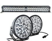 "Adventure Kings Domin8r Xtreme 9"" LED Driving Lights (Pair) + Adventure Kings 24"" Laser Light Bar"