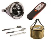 Adventure Kings 2in1 LED Light & Fan + 24 LED Work Light + Adventure Kings Camp Oven Canvas Bag + BBQ Tool Set