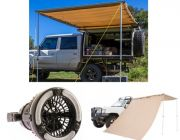 Adventure Kings Awning 2x3m + Adventure Kings Awning Side Wall + Adventure Kings 2in1 LED Light & Fan