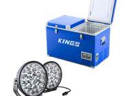 "Adventure Kings 70L Camping Fridge/Freezer + Domin8r Xtreme 9"" LED Driving Lights (Pair)"
