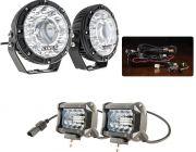 "Kings 7"" Laser Driving Lights (Pair) + 4"" LED Light Bar + Plug N Play Smart Wiring Harness Kit"