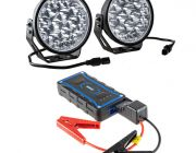 "Adventure Kings Domin8r Xtreme 7"" LED Driving Lights (Pair) + Jump Starter"
