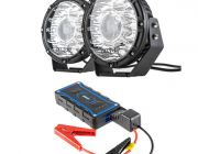 "Kings 8.5"" Laser MKII Driving Lights (pair) + 1000A Lithium Jump Starter"