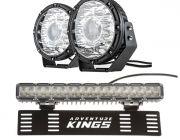 "Kings 8.5"" Laser MKII Driving Lights (pair) + 15"" Numberplate LED Light Bar"