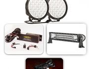 """Pair of 9"""" Driving Lights, 22"""" Light Bar Complete Pack