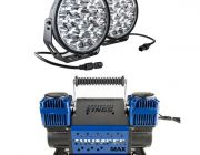 "Adventure Kings Domin8r Xtreme 9"" LED Driving Lights (Pair) + Thumper Max Dual Air Compressor MkII"