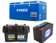 Kings 90L Camping Fridge Freezer   Dual Zone + Adventure Kings AGM Deep Cycle Battery 115AH + Battery Box