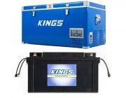 Kings 90L Camping Fridge Freezer   Dual Zone + Adventure Kings 138Ah AGM Deep-Cycle Battery