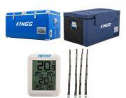 Kings 90L Camping Fridge Freezer | Dual Zone + Kings 90L Fridge Cover + Wireless Fridge Thermometer + Fridge Tie Down Straps (4 pack)