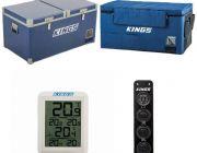 Kings 90L Camping Fridge Freezer   Dual Zone + Kings 90L Fridge Cover + Wireless Fridge Thermometer + 12V Accessory Panel