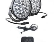 "Adventure Kings Domin8r Xtreme 9"" LED Driving Lights (Pair) +  Heads Up Display (HUD) Unit"