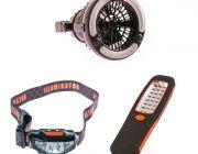 Adventure Kings 2in1 LED Light & Fan + Illuminator LED Head Torch + 24 LED Work Light