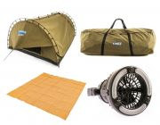 Adventure Kings 'Big Daddy' Deluxe Double Swag + Swag Canvas Bag + 2in1 LED Light & Fan + Mesh Flooring 3m x 3m
