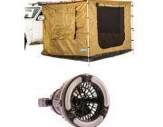 Adventure Kings Awning Tent 2.5x 2.5m + Adventure Kings 2in1 LED Light & Fan