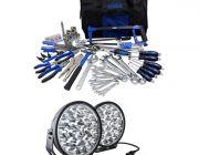 "Adventure Kings Domin8r Xtreme 9"" LED Driving Lights (Pair) + Tool Kit - Ultimate Bush Mechanic"