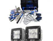 "Adventure Kings Tool Kit - Ultimate Bush Mechanic + 3"" LED Work Light - Pair"