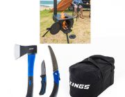 Adventure Kings Camp Oven/Stove + Three Piece Axe, Folding Saw and Knife Kit + 40L Duffle Bag