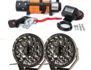 """Domin8r X 12,000lb Winch with rope + Adventure Kings 8.5"""" Laser Driving Lights"""