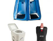 Adventure Kings Portable Camping Toilet + Double Ensuite/Shower Tent + Solar Shower