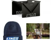 Kings Portable Steel Fire Pit + Fire Pit Canvas Bag + Camper's Beanie