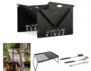 Kings Portable Steel Fire Pit  + Essential BBQ Plate + Portable Fire Pit Bag + BBQ Tools