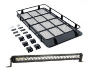 "Full Length Steel Roof Racks + Kings 20"" Slim Line LED Light Bar"