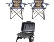 Gasmate Voyager Portable BBQ + 2x Adventure Kings Throne Camping Chair