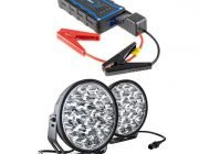 "Adventure Kings Domin8r Xtreme 9"" LED Driving Lights (Pair) + Jump Starter"