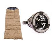 Premium Sleeping bag -5°C to 5°C Degrees Celsius Left Zipper + Adventure Kings 2in1 LED Light & Fan
