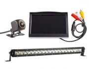 "Kings 20"" Slim Line LED Light Bar + Reverse Camera Kit with 5"" Screen"