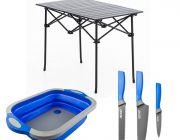 Adventure Kings Aluminium Roll-Up Camping Table + Collapsible Sink + 4-Piece Camping Chef's Knives Kit