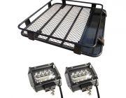 """Steel Roof Rack 1/2 Length + 4"""" LED Light Bar (Pair)"""