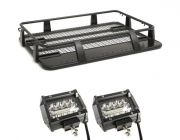 """Steel Single Cab Roof Rack + 4"""" LED Light Bar (Pair)"""