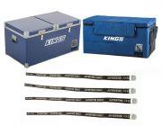 Kings 90L Camping Fridge Freezer + 90L Fridge Cover + Fridge Tie Down Straps (4 pack)