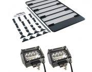 """Steel Flat Rack For Gutter Mount Vehicles + 4"""" LED Light Bar (Pair)"""