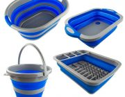Adventure Kings Collapsible Sink + Collapsible 10L Bucket + Collapsible Laundry Basket + Collapsible Dish Rack