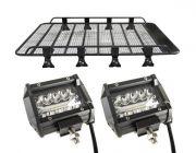 "Steel Tradie Roof Racks + 4"" LED Light Bar (Pair)"