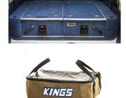 Titan Rear Drawer with Wings suitable for Toyota Landcruiser 100/105 Series (GX/GXL Sept 1998-2005 No Air Con in rear) + Adventure Kings Clear Top Canvas Bag