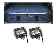 """Titan Rear Drawer with Wings suitable for Toyota Landcruiser 100 Series (GXL 2005+ Air Con in rear) + 4"""" LED Light Bar (Pair)"""