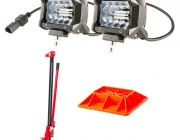 "Adventure Kings 4"" LED Light Bar + Hercules 48"" Offroad Jack + Hercules Offroad Jack Base"