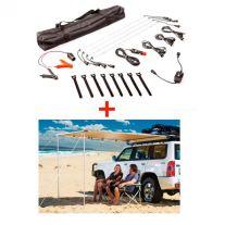 Adventure Kings Awning 2x2.5m + Illuminator 4 Bar Camp Light Kit