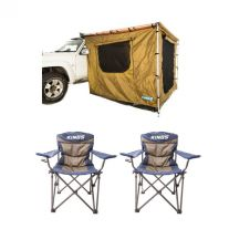 Adventure Kings Awning Tent 2x2.5m + 2x Throne Camping Chair
