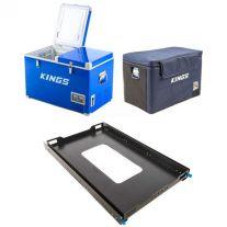 Adventure Kings 70L Camping Fridge/Freezer + 70L Camping Fridge Cover + Titan 100L Fridge Slide