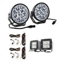 "Adventure Kings Domin8r Xtreme 7"" LED Driving Lights (Pair) + 2 x Plug N Play Smart Wiring Harness Kit + 3"" Work Lights (Pair)"