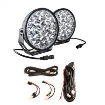 "Adventure Kings Domin8r Xtreme 9"" LED Driving Lights (Pair) + Plug N Play Smart Wiring Harness Kit"